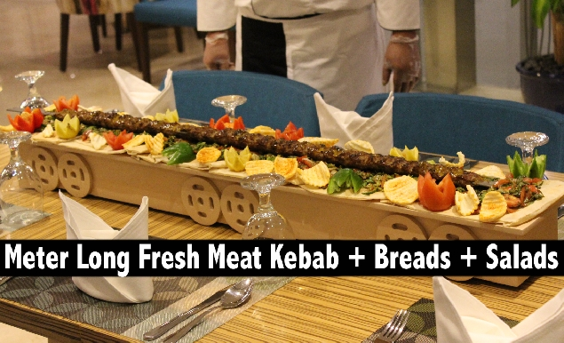 Meter Kebab (Chicken or Beef FRESH MEAT) + Breads + Salads