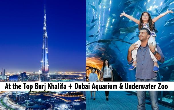 Burj Khalifa At the Top, Dubai Aquarium & Underwater Zoo Combo for AED219
