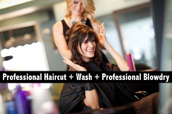 Professional Haircut with Style + Hair Wash + Professional Blowdry (any length)