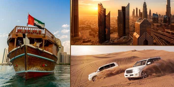 Trio Offer - Desert Safari, Deira Dhow Cruise & Dubai City Tour