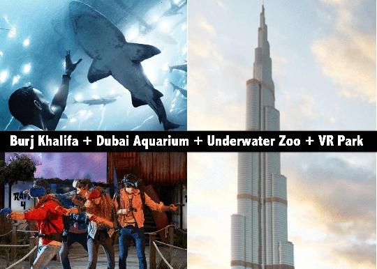 Burj Khalifa At the Top + Dubai Aquarium & Underwater Zoo + VR Park AED239