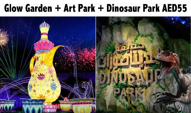 3 Parks Ticket - Glow Garden + Art Park + Dinosaur Park for AED55