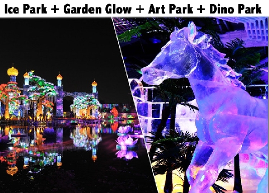 4 Parks Ticket - Ice Park + Glow Garden / Art Park + Dinosaur Park