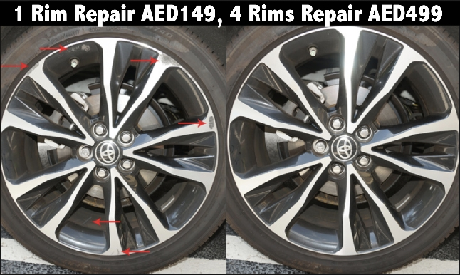 Car Wheel Rim Repair & Paint - 1 Rim AED149, 4 Rims AED499