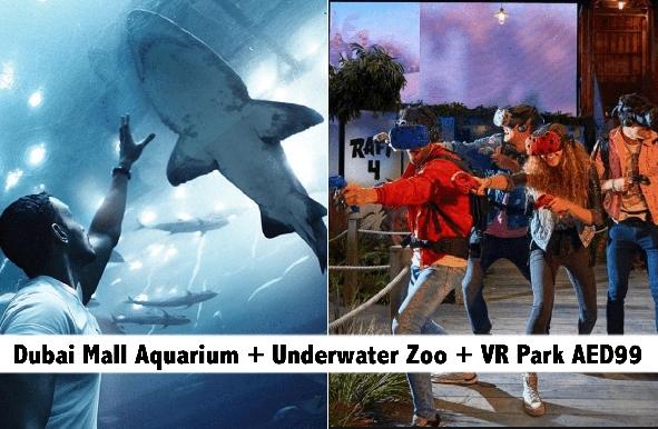 Dubai Mall Aquarium + Underwater Zoo + VR Park for only AED99