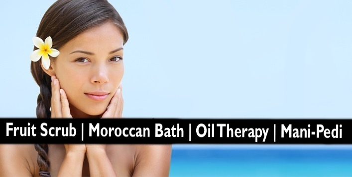 Moroccan Bath, Fruit Scrub, Oil Therapy, Waxing, Mani-Pedi for AED59