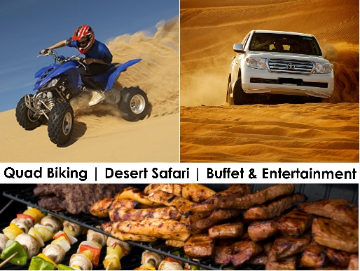 Quad Biking, Dune Bashing, Desert Safari Dinner Buffet & Entertainment