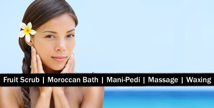 Moroccan Bath, Fruit Scrub, Oil Therapy, Waxing, Mani-Pedi for AED49