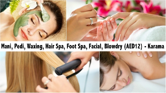 Mani, Pedi, Waxing, Hair Spa, Foot Spa, Facial, Blowdry (AED12) - Karama