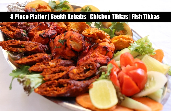 8 pieces Chicken, Fish Tikka & Seekh Kebab Platter with Naan for only AED19