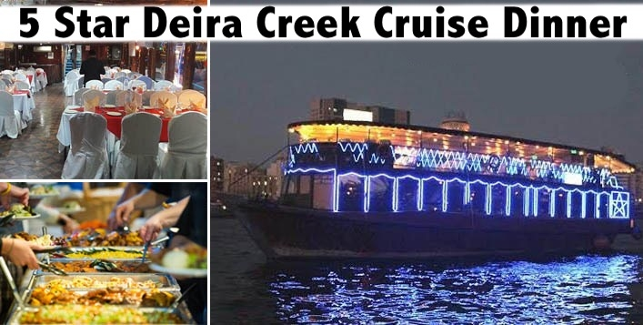 5 Star Dhow Cruise Creek Int'l Dinner Buffet & beverages starting from AED39
