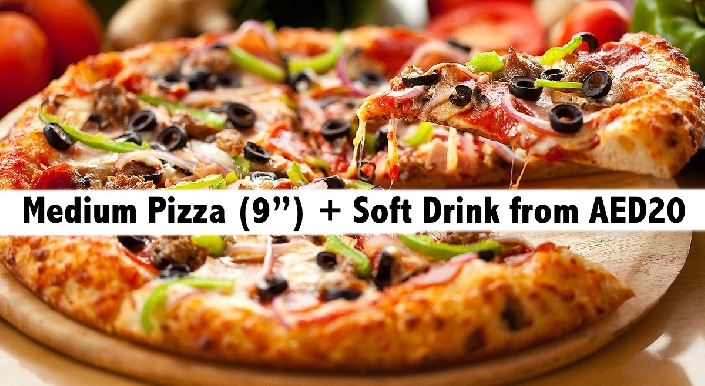 Medium Pizza (9 inch) + Soft Drink from AED20 - Dunes Delights Restaurant