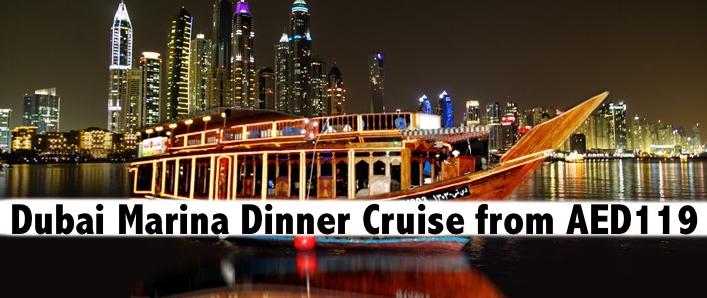 5star Dubai Marina Dhow Cruise Dinner Buffet with Entertainment from AED109