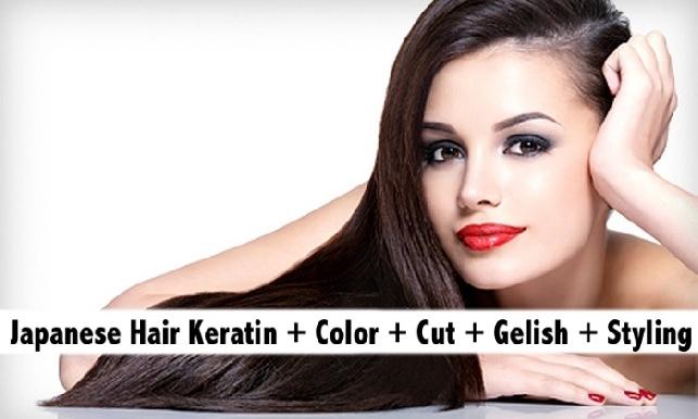 Japanese Premium Keratin + Hair Color + Gelish Nails + Haircut + Styling AED289