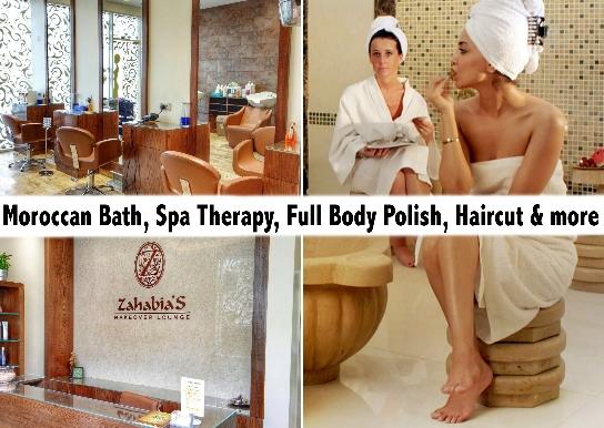 Moroccan Bath, Spa Therapy, Haircut or Full Body Polish AED49 @Zahabia's