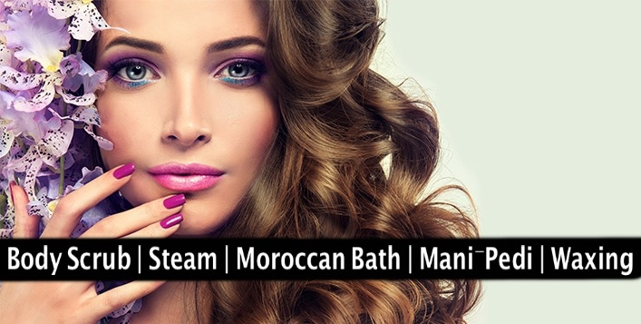 Body Scrub, Steam, Moroccan Bath, Mani-Pedi, Waxing for AED49