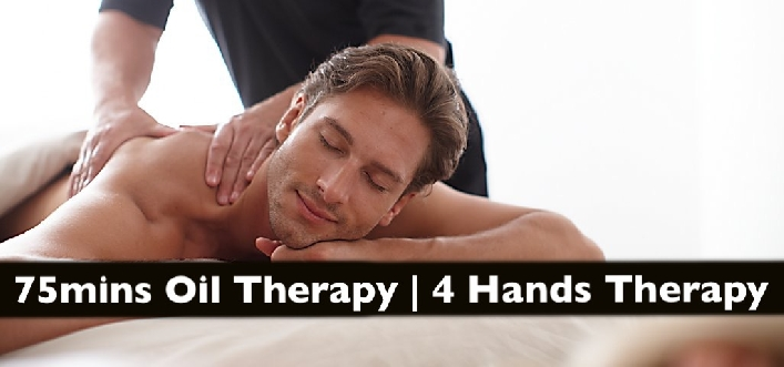 4 Hands Oil Therapy or 75mins Full Body Oil Relaxation Therapy