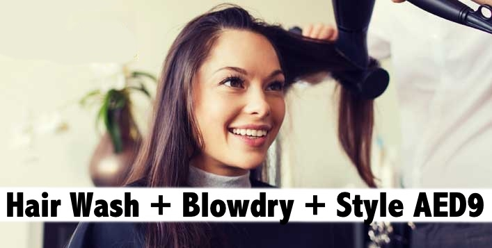 Hair Wash + Blowdry + Style for only AED9 - Hazel Hair & Beauty Salon Karama