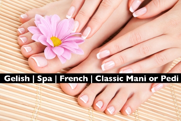 Gelish | French | Classic Manicure or Pedicure at Bodyline for AED29