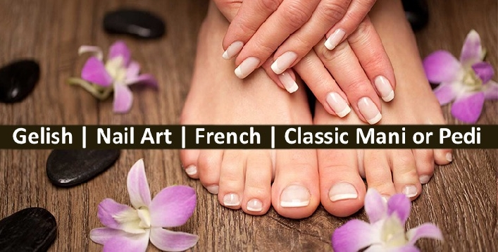 Gelish, Nail Art, French, Classic Mani-Pedi for AED29 - Sparkles N Charms