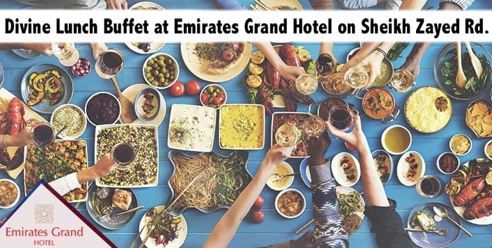 Divine Lunch Buffet at Emirates Grand Hotel on Sheikh Zayed Rd. for AED59