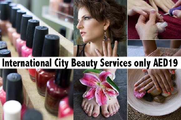 Int'l City Beauty - Mani, Pedi, Waxing, Blowdry, Kids Haircut, Paraffin AED19
