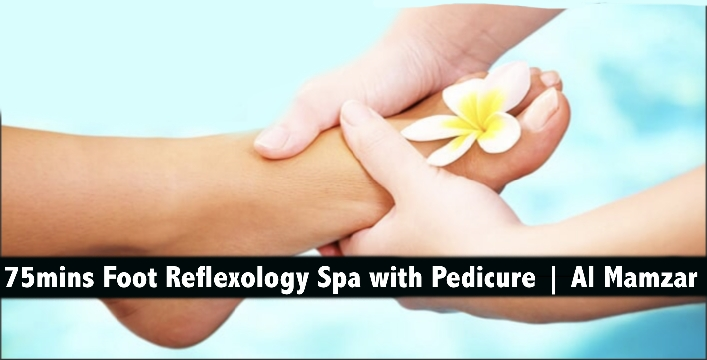 75mins Foot Reflexology Spa with Pedicure in Al Mamzar - Sheira Beauty Spa