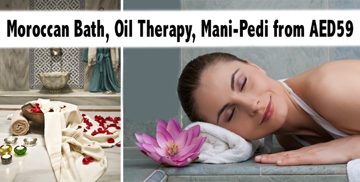Ladies Moroccan Bath, Mani-Pedi, Fruit Scrub, Nail Polish from AED59