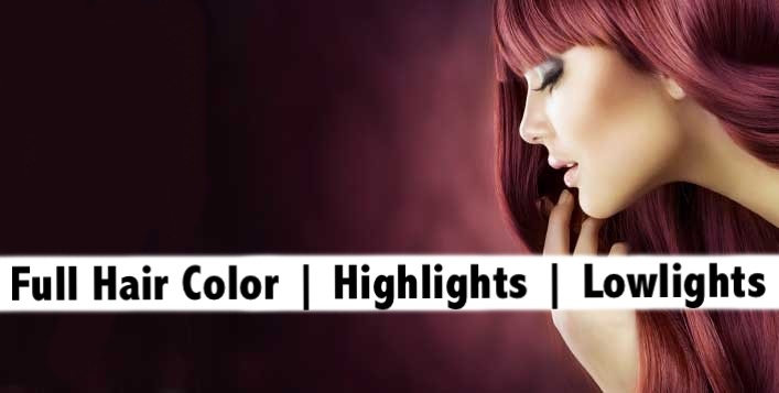 Full Hair Color or Highlights or Lowlights + Hair Trim for only AED99