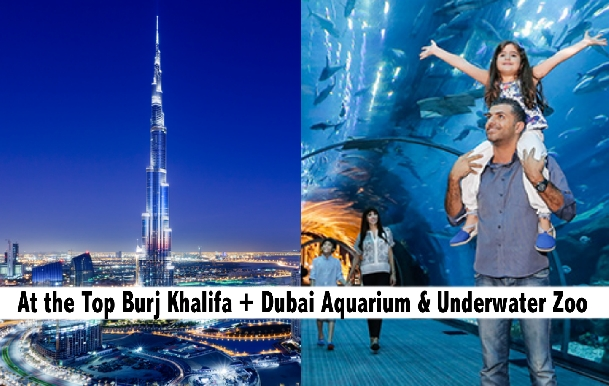 Burj Khalifa At the Top, Dubai Aquarium & Underwater Zoo Combo for AED219