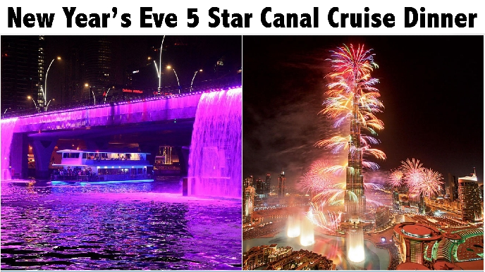 New Years Eve 3hrs Dubai Canal Glass Boat 5 Star Dinner Cruise